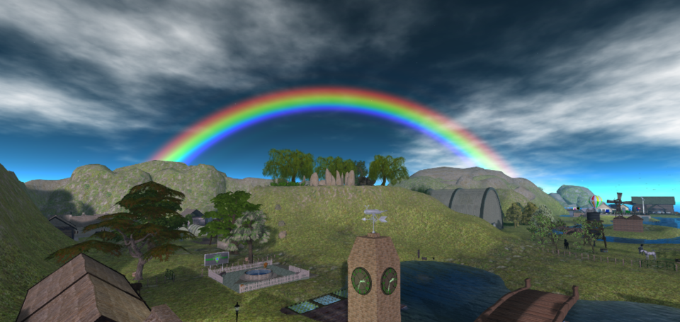 I've been slowly upgrading the Quintonia regions to the latest 'EEP' version of OpenSim.  If you visit Aquino with the EEP Beta version of Firestorm hopefully you will see the wonderful rainbow there!